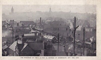 LARGE BOOK POSTCARD L & NW RAILWAY EXPRESS WRECKAGE SHREWSBURY OCT 15th 1907