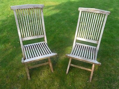 2 x collapsible folding garden chairs - lots of weathering, in need of repaint