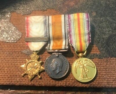 Miniature Ww1 Medals. 1914 Mons Star Trio & Details Of Interesting Owner.