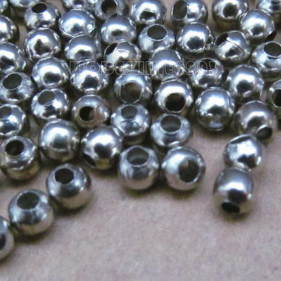 200pcs Stainless Steel 4mm Round Ball Spacer Beads Jewellery Accessories