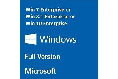 Genuine Product:- 7 Or 8.1 Or 10 Enterprise Full Version (pro, ultimate, home)