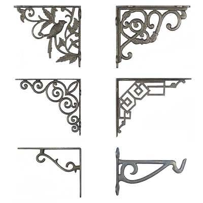 Antique Cast Iron WALL BRACKET PAIRS Industrial Chic Rustic Shelf Toilet Cistern