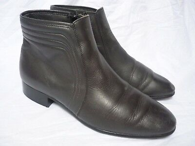 Vintage Dark Grey Leather Ankle Chelsea Boots size 9