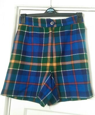 vintage wool plaid check tartan high waist  shorts