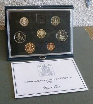 1987 Royal Mint UK Proof 7-Coin Year Set large size 50p,10p,5p for 30th Birthday