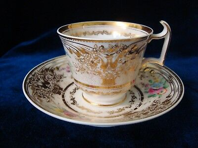 """An Antique Painted Spode Cup & Saucer, Heavy Gilt, """"3502""""."""
