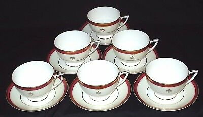 SIX Minton CRIMSON IVORY Tea Cups and Saucers (With Masonic Crest)