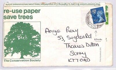 BR142 1977 GB SCOTS ISLANDS *Iona* REGIONAL Cover RE-USE PAPER SAVE TREES Label