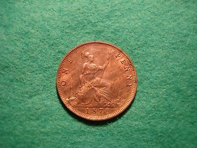 queen victoria 1879 penny 9 + J Freeman 97 A/Unc near full lustre FREEPOST