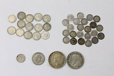 Large Collection of Vintage Pre 1947 British SILVER Coins INC CROWNS GV 142g