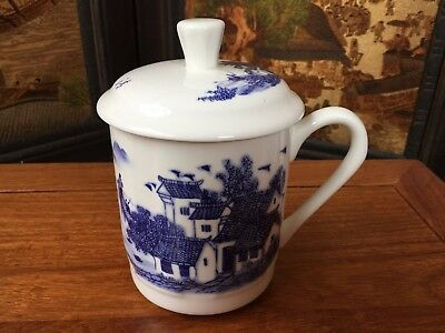 Pair of Chinese Blue-and-white Porcelain Tea Cups - Hand-painted Village