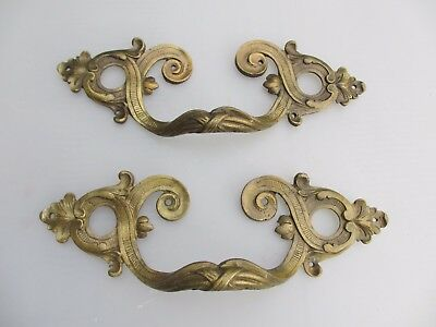 Antique Brass Drawer Handles Pulls Gilt Ormolu French Rococo Baroque Regency x2