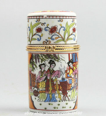 87MM China Colour Porcelain Ancient Woman Worship The Moon Fashion Toothpick Box