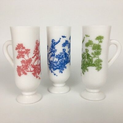 Avon Toile Demi Espresso Mugs Set of 3 White Milk Glass Footed Pedestal Cups VTG