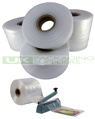 """1 SMALL ROLL OF 4"""" CLEAR LAYFLAT TUBING 500gauge POLYTHENE PLASTIC 168 METRES"""