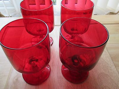 4 X Vintage / Retro Quality  Ruby Red Cranberry Wine Glasses