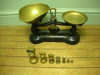 Vintage Black Libra Scale Co Kitchen Weighing Scales with LB OZ Weights