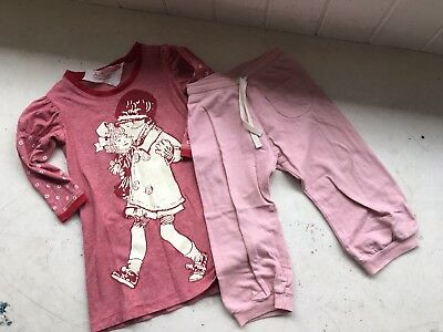 PaperWings Sz 18 Months Owl Track Pants, Girl With Doll Print L/S Shirt Dress.