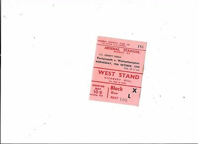 Ticket Portsmouth v Wolves FA Charity Shield @ Arsenal 19/10/1949