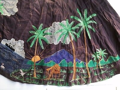 Amazing vintage embroidered handmade circle skirt tropical island volcano design