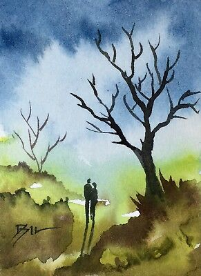 ACEO Original Art Watercolour Painting by Bill Lupton - Together Forever