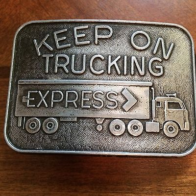 "Vtg KEEP ON TRUCKING EXPRESS by RJ Roberts & Co Belt Buckle 3"" x 2.25"""