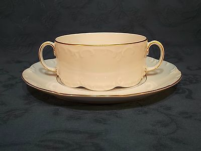 Rosenthal Classic Rose Collection Gold Trim Soup Coup / Bowl & Saucer (E)