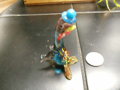 vintage Blown Glass Figurine Art  Small multi color walrus with hat