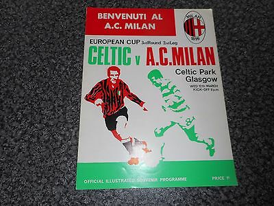 CELTIC  v  A.C. MILAN  ( ITALY )  1968/9  EUROPEAN CUP 3rd ROUND ~ MARCH 12th