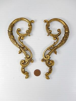 Pair (2) Antique - Vintage Brass Plated Ornate Cast Metal Ornaments or Handles