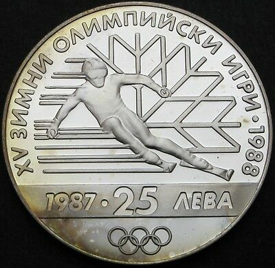 BULGARIA 25 Leva 1987 Proof - Silver - Winter Olympic Games - 722 ¤