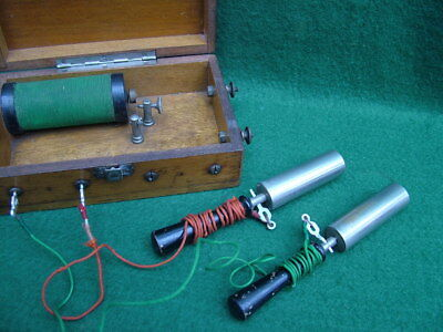 VICTORIAN GALVANIC ELECTRIC SHOCK MACHINE COMPLETE in ORIGINAL MAHOGANY BOX vgc.