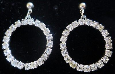 Lovely Vintage 60's Circular Diamante Stud Drop Earrings Silver Tone (6302)
