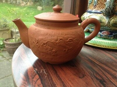 CHINESE YIXING ? RED CLAY TEAPOT DRAGON IN CLOUDS DESIGN ( Not Signed Some Age )