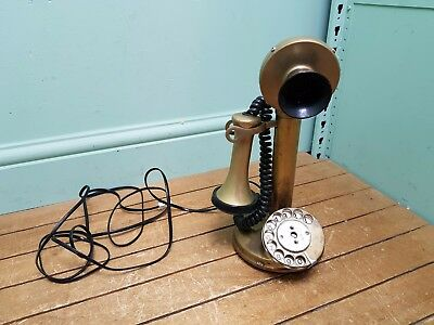 Vintage Brass Candlestick Radial House Telephone
