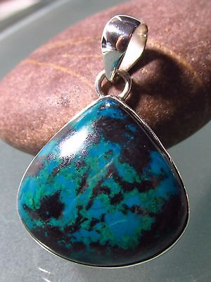 Sterling silver teal chrysocolla tear drop cabochon stone pendant.