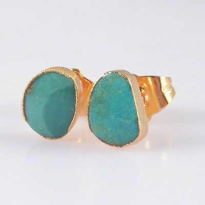 Natural Genuine Turquoise Stud Earrings Gold Plated H100636