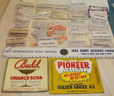 Huge LOT antique unused labels medicine bottles drug store labels !!