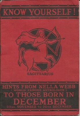 """1936 Booklet Astrology: """"Know Yourself!"""" Sagittarius by Nella Webb Astrologer"""