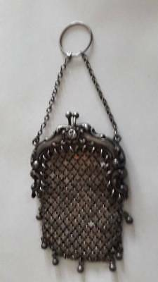 Antique Whiting & Davis Sterling Silver Miniature Chatelaine Mesh Purse