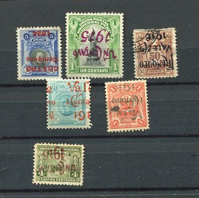 (OC445) Peru old stamps inverted and double surcharged >>>