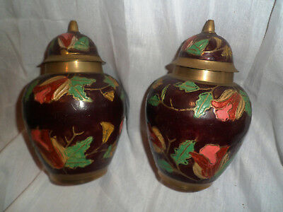 Pair Of Brass Chinese ginger Jars  hand painted