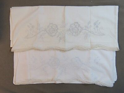 Pair of Vintage Pillowcases Fabulous White Work Embroidered Rose Lace