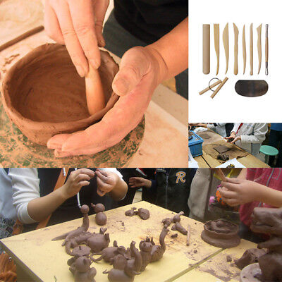 10 Wooden Pottery Clay Sculpture Ceramic Working Hand Arts Crafts Tools Hot