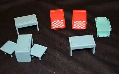 Playskool Vtg Square People Table Chairs Bed Set 8 pieces Dining Toys