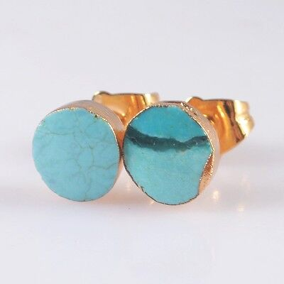Natural Genuine Turquoise Stud Earrings Gold Plated H100640