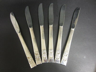 Set 6 Oneida Community Silver Plated Hampton Court / Coronation Dessert Knives