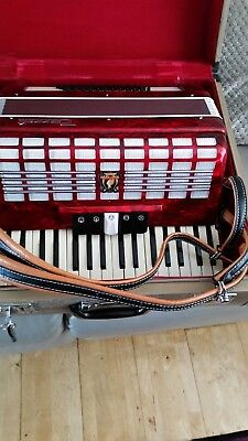 Cased Parrot  Accordion Red High Gloss