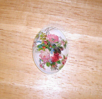 Roses Floral 30X40mm Glitter Unset Handmade Art Bubble Cameo Cabochon