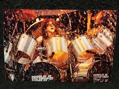 KISS Concert Photo Eric Carr Playing Drums Double Bass Drum
